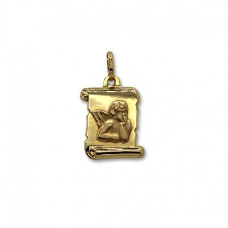Medalla de oro pergamino angel
