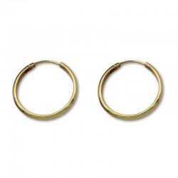 Pendiente aro media caña 20 mm de oro