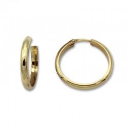 Pendiente aro media caña alta 20 mm de oro