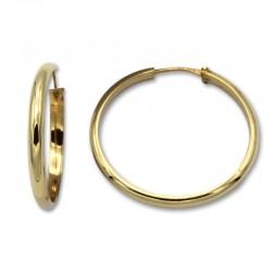 Pendiente aro media caña 29 mm de oro