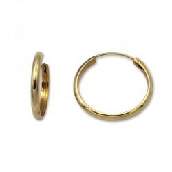 Pendiente aro media caña 22 mm de oro