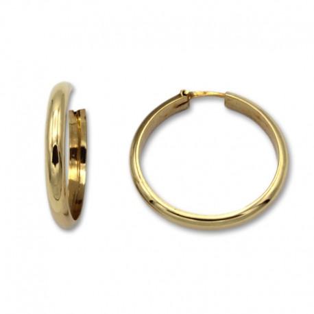 Pendiente aro media caña 23 mm de oro