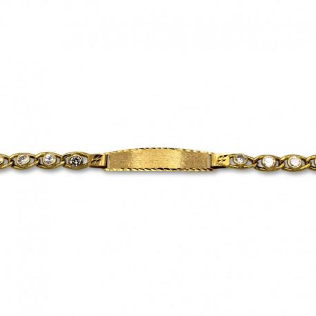 Esclava de oro de eslabón con circonitas barbado semihueco