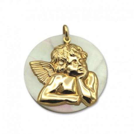 Colgante de oro con ángel y nácar grande