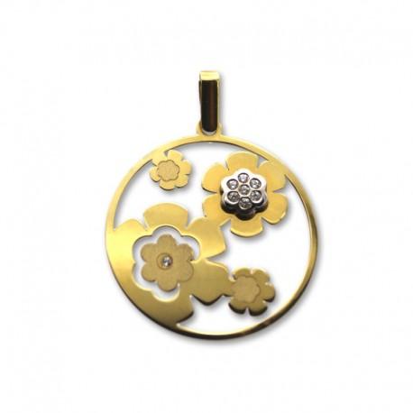 Colgante de oro circular de flores caladas