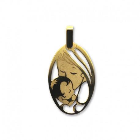 Colgante de oro mama oval