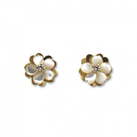 Pendiente de oro flor nácar y circonita