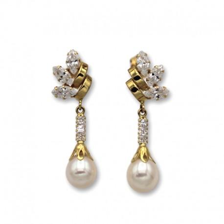 Pendiente de oro circonitas y perlas