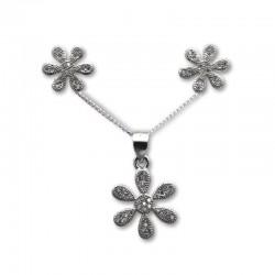 Conjunto flor en plata y circonitas