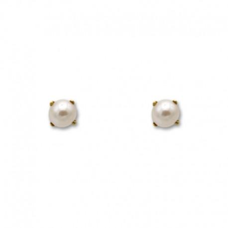 Pendiente tornilleria de oro de perla con patillas de 5 m/m