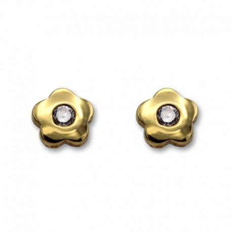 Pendiente de oro circonita lisa con circonita