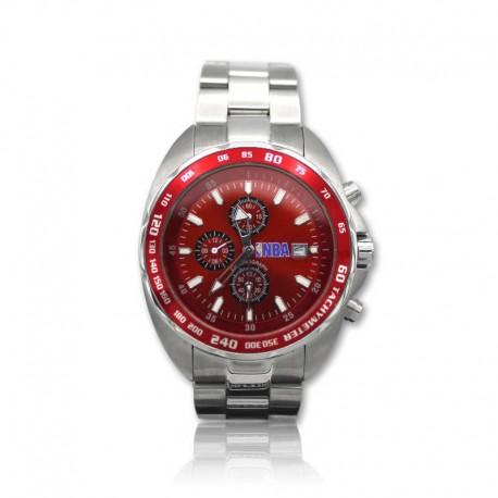 Reloj de acero NBA para caballero rojo