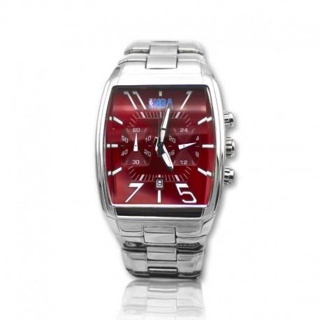 Reloj de acero para caballero NBA rojo