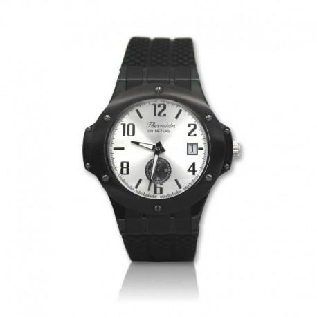Reloj de acero negro con correa de goma para caballero THERMIDOR