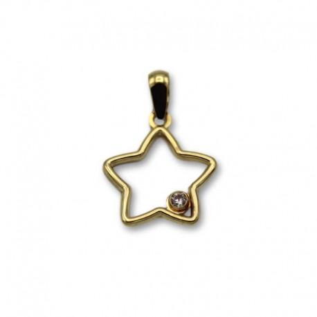 Colgante de oro estrella con circonita