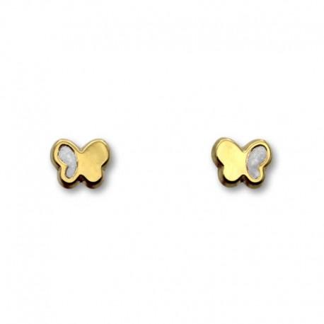 Pendiente de oro mariposa esmalte