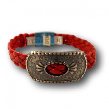 6ffa428dd4f8 Pulsera Viceroy de acero y cuero de la colecíon de shakira en rojo.