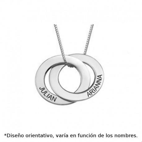 Colgante de plata personalizado de dos circulos calados