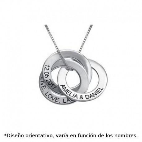 Colgante de plata personalizado de 3 circulos calados