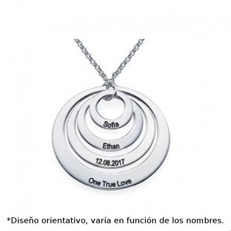 Colgante de plata de con cuatro circulos huecos