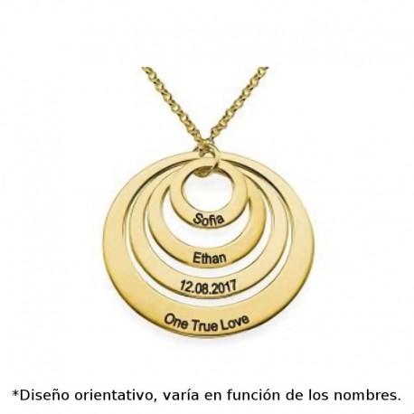 Colgante de plata chapada en oro con cuatro circulos huecos