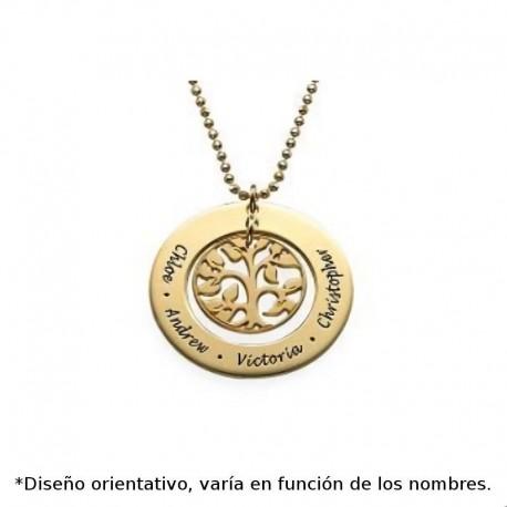 Colgante de plata chapado en oro personalizado arbol de la vida