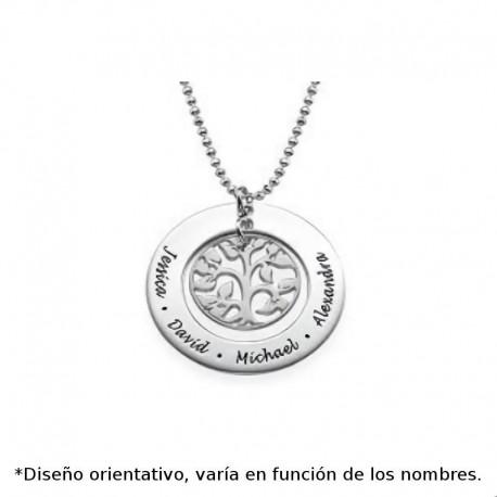 Colgante de plata de ley personalizado arbol de la vida