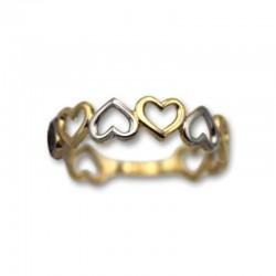 Sortija de oro corazones calados bicolor