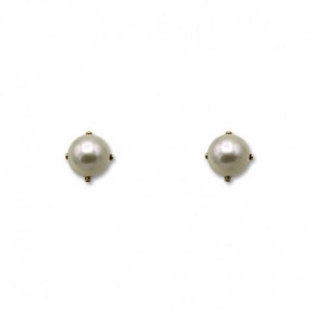 Pendiente de oro con perla y garras de 5 mm
