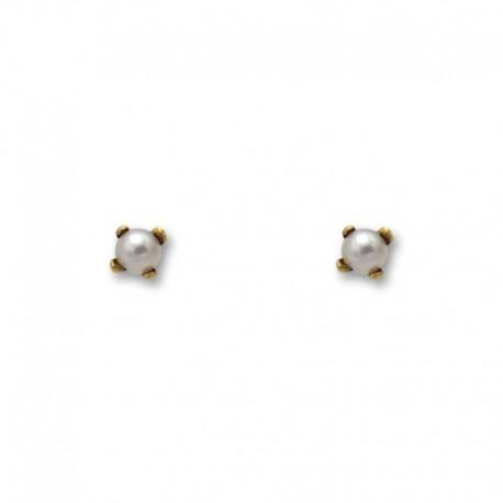 Pendiente de oro con perla y garras de 3 mm