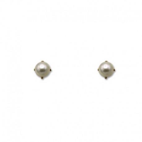 Pendiente de oro con perla y garras de 4 mm