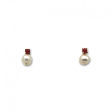 Pendiente de oro con coral y perla 4.5 mm