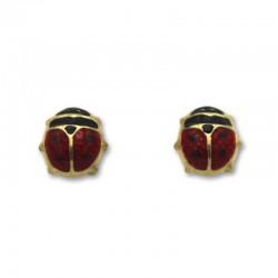 Pendiente de oro mariquita esmaltada 9 mm