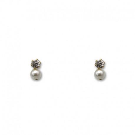 Pendiente de oro con circonita y perla de 3 mm