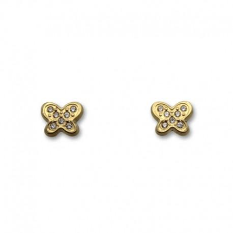 Pendiente de oro con forma de mariposa y circonitas