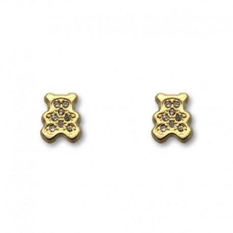 Pendiente de oro con forma de oso y circonitas