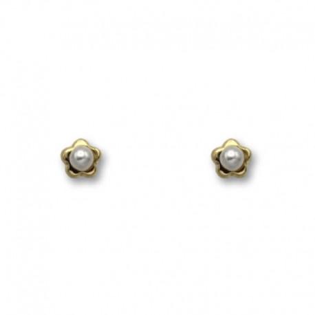 Pendiente de oro de flor en orla y perla 3mm