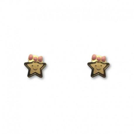 Pendiente de oro de estrella con lazo