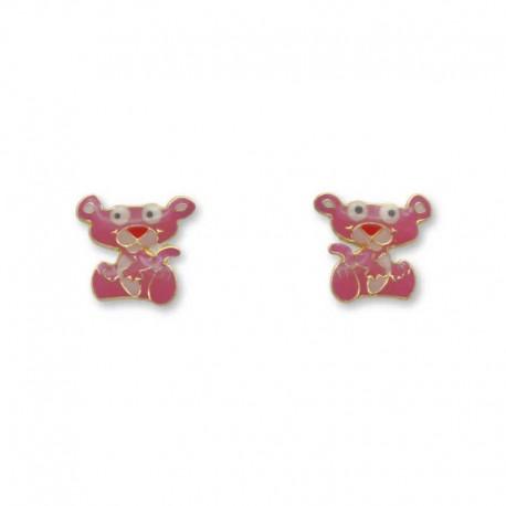 Pendiente de oro pantera rosa