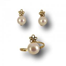 Juego de comunion con perla en oro