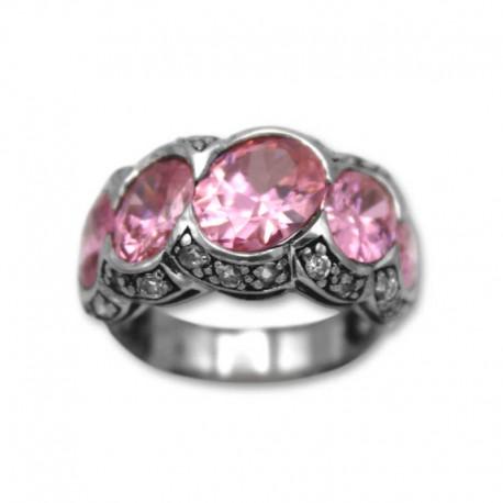 Anillo de plata con piedras color rosa