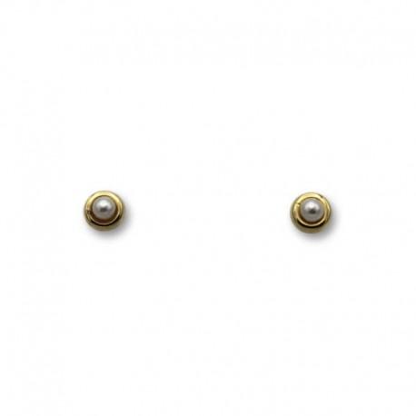Pendiente de oro de orla y perla 3 mm