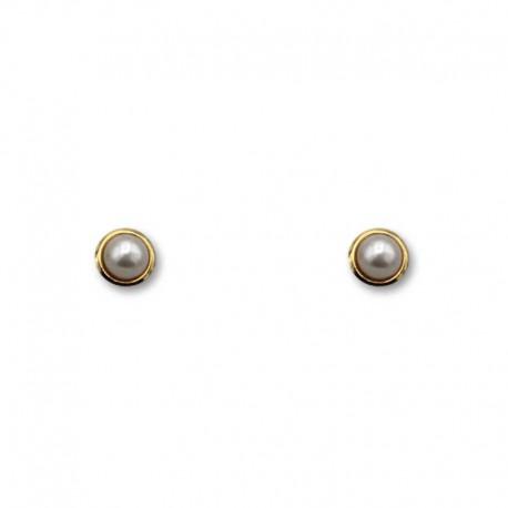 Pendiente de oro de orla y perla 4mm