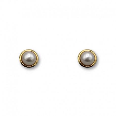Pendiente de oro de orla y perla 5mm