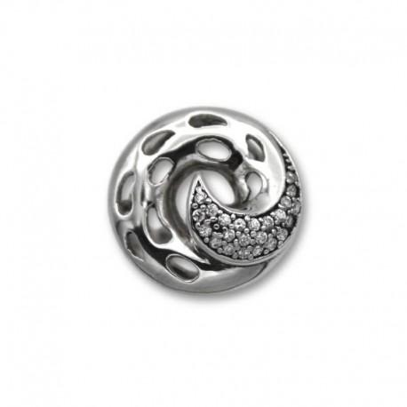 Anillo de plata con forma de hélice y circonitas
