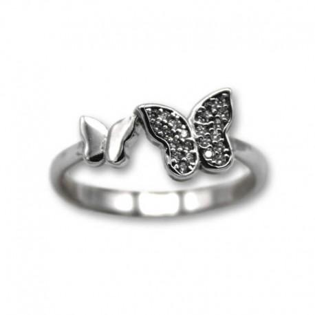 Anillo de plata con mariposas