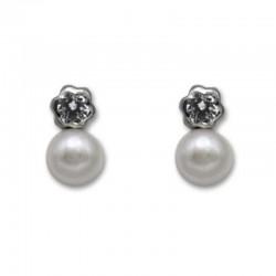 Pendiente de plata flor con perla