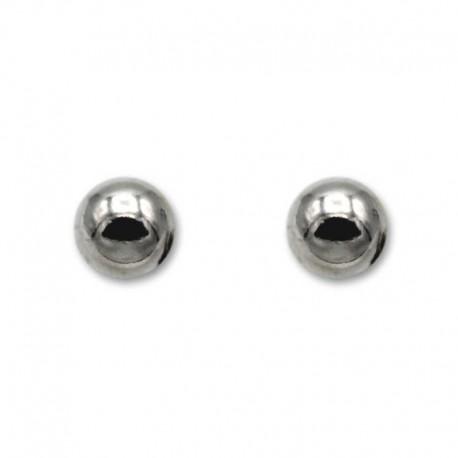 Pendiente en plata con bola lisa de 8mm